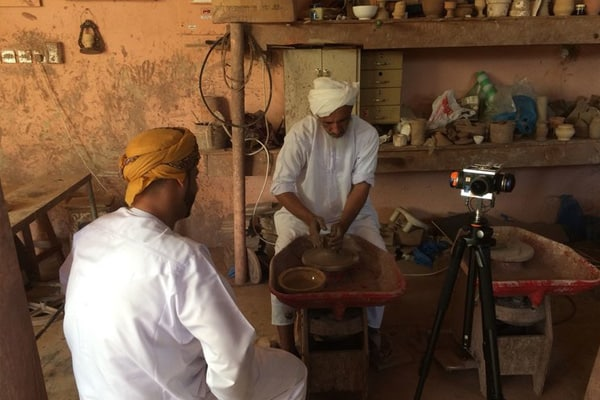 VR camera being used to produce 360 film for pottery